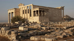 Zoom in wide shot of the erechthion in athens, greece Stock Footage