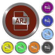 Color ARJ file format buttons Stock Illustration