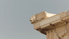 Carved lion head on the erechthion in athens, greece Stock Footage