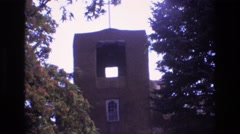 1973: an old stone church tower, seen at daytime NEW MEXICO Stock Footage