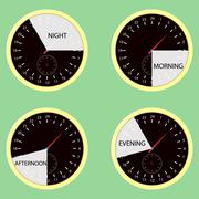 Clock hours, time of day morning, afternoon, evening, night Stock Illustration