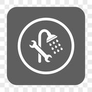 Shower Plumbing Rounded Square Button Stock Illustration