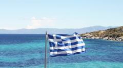 Greek National Flag Stock Footage