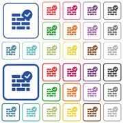 Active firewall color outlined flat icons Stock Illustration