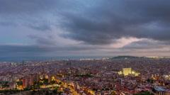 Storm sky sunset barcelona city aerial panorama 4k time lapse spain Stock Footage