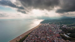 Storm day barcelona city beach bay aerial panorama 4k time lapse spain Stock Footage