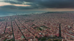 Storm sky barcelona cityscape bay aerial panorama 4k time lapse spain Stock Footage