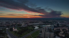 Sunset sky minsk nemiga river center aerial panorama 4k time lapse belarus Stock Footage