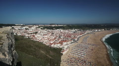 Beautiful view at Nazare town. Famous surfers paradise place. Portugal Stock Footage