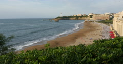 Beach at sunset at Biarritz, France Stock Footage