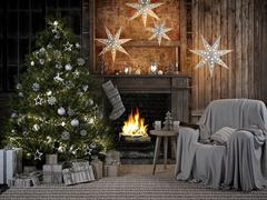 Cozy christmas interior with firelace and christmastree. 3D RENDERING Stock Illustration