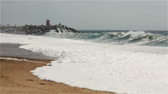 Lighthouse in Nazare, Portugal. Stock Footage