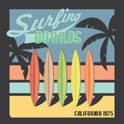 Surfing boards California typography, t-shirt Printing design, Summer vector  Stock Illustration