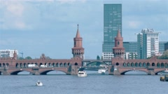 Panoramic locked down shot of Oberbaum Bridge from Spree River in Berlin Stock Footage