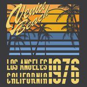 California Venice beach typography, t-shirt Printing design, Summer vector Ba Stock Illustration