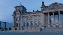 Real time pan establishing shot of The German Parliament in Berlin Stock Footage