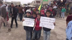 Syria, Kobani - February, 2016: Kobani street people celebrating victory Stock Footage