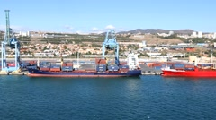 4K Marseille France cargo port, freighter ships Stock Footage