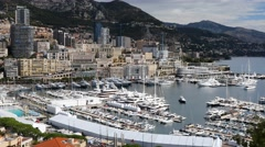 4K Monaco France coastline, boat and ship pier Stock Footage