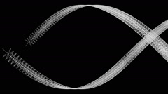 Flowing white ribbon in graphic style creates shape of eye - on black (FULL HD) Stock Footage