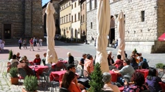 4K Piazza Grande cafe store customers, Siena Italy Stock Footage