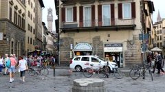 4K Santa Croce piazza shops restaurant, Florence Italy Stock Footage
