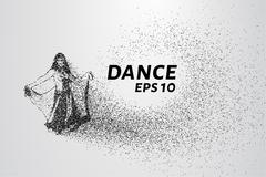 Dance of the particles. Girl in a beautiful dress dancing. Vector illustratio Stock Illustration