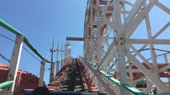 POV view of a rollercoaster with danger sign. Stock Footage