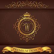 Letter W. Luxury Logo template flourishes calligraphic elegant ornament lines Stock Illustration