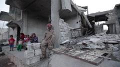 Syria, Kobani - February, 2016: Syrian family, SDF,ISIS war, SDF – YPJ,YPG Stock Footage