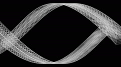 Wide white ribbon in graphic style creates shape of eye - on black (FULL HD) Stock Footage