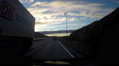 Time-lapse hyperlapse of a car driving on the road towards Tromso, in norther Stock Footage