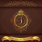 Letter D. Luxury Logo template flourishes calligraphic elegant ornament lines Stock Illustration
