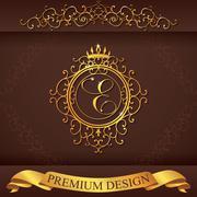 Letter E. Luxury Logo template flourishes calligraphic elegant ornament lines Stock Illustration