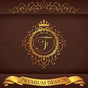 Letter F. Luxury Logo template flourishes calligraphic elegant ornament lines Stock Illustration