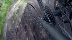 POV view of a mountain biker gears riding on a singletrack trail. Stock Footage