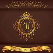 Letter K. Luxury Logo template flourishes calligraphic elegant ornament lines Stock Illustration