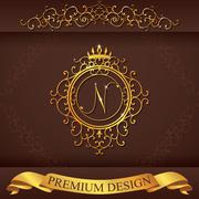 Letter N. Luxury Logo template flourishes calligraphic elegant ornament lines Stock Illustration