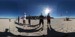 360Vr Video People at Kites Festival in Leba Poland Men Standing in a Line on a Stock Footage