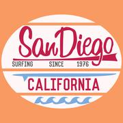 California San Diego typography, t-shirt Printing design, Summer vector Badge Piirros