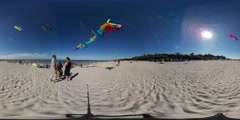 360Vr Video People Kites Festival in Leba Fly Kites Colorful Dragon Kite Pink Stock Footage