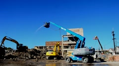Construction-Heavy Equipment-31.00s-Builiding Demolishtion-Clearing Materials Stock Footage