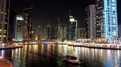 5K Dubai Marina night time lapse, United Arab Emirates Stock Footage
