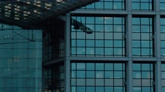 Tilt up real time medium shot of contemporary buildingin Berlin. Stock Footage