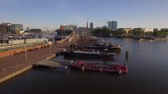 Amsterdam aerial sightseeing. Flying near underwater tunnel. 4K Stock Footage
