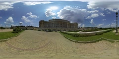 The Palace of the Parliament in Bucharest capital city of Romania, 360 video vr Stock Footage