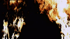 Blaze of fire slow motion isolated on black Stock Footage