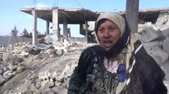 Syria, Kobani - February, 2016: Destroyed buildings, SDF,ISIS war, SDF – YPJ,YPG Arkistovideo
