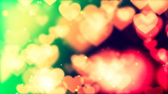HD Loopable Background with nice colorful flying hearts Stock Footage