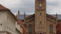 Tilt up establishing shot of main alley in Potsdam - brandenburger strasse. Stock Footage